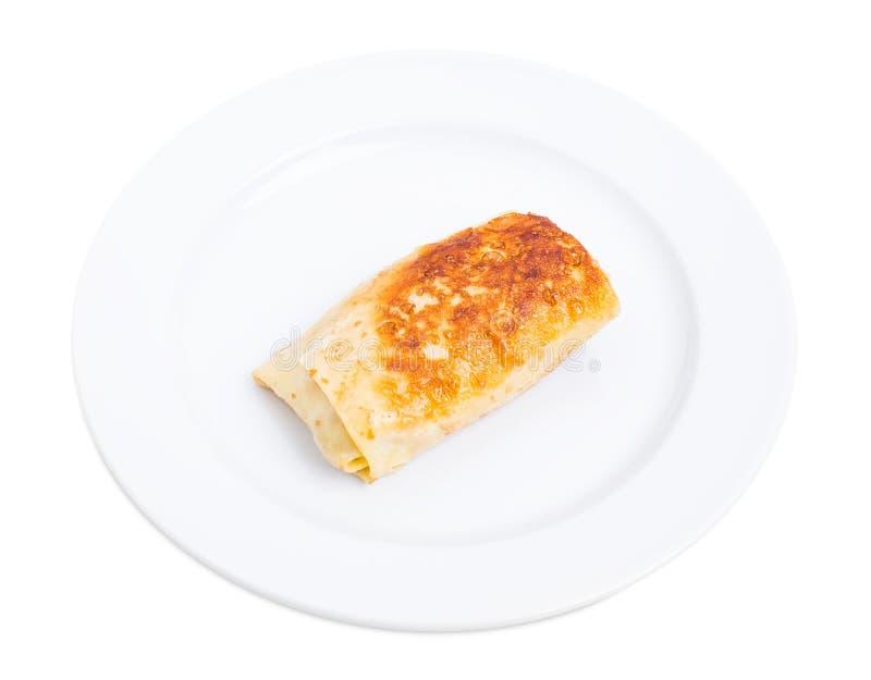 Pancake russo farcito con il ripieno della carne di maiale fotografia stock libera da diritti