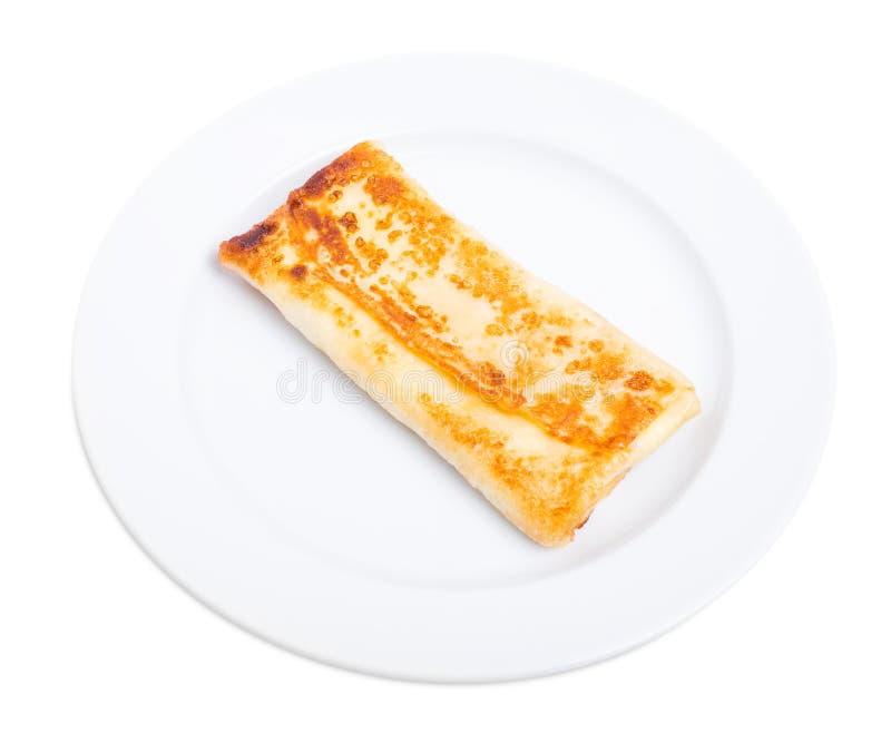 Pancake russo farcito con la ricotta salata fotografia stock libera da diritti