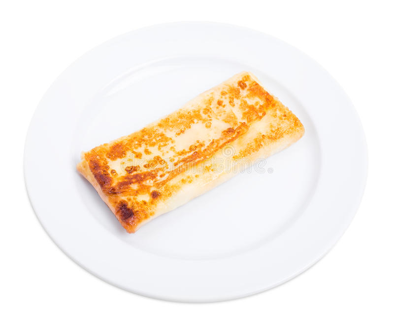 Pancake russo farcito con la ricotta salata fotografie stock