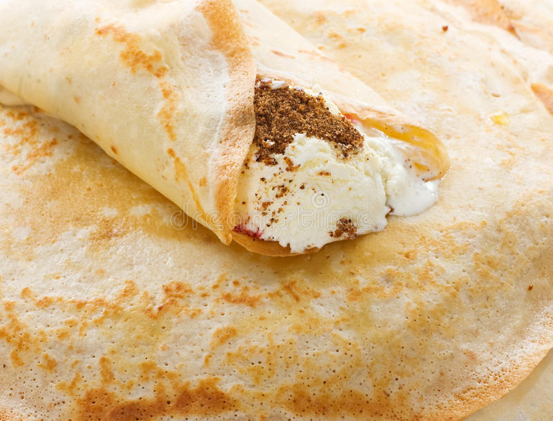 Pancake With Soft Ice-cream Royalty Free Stock Photos