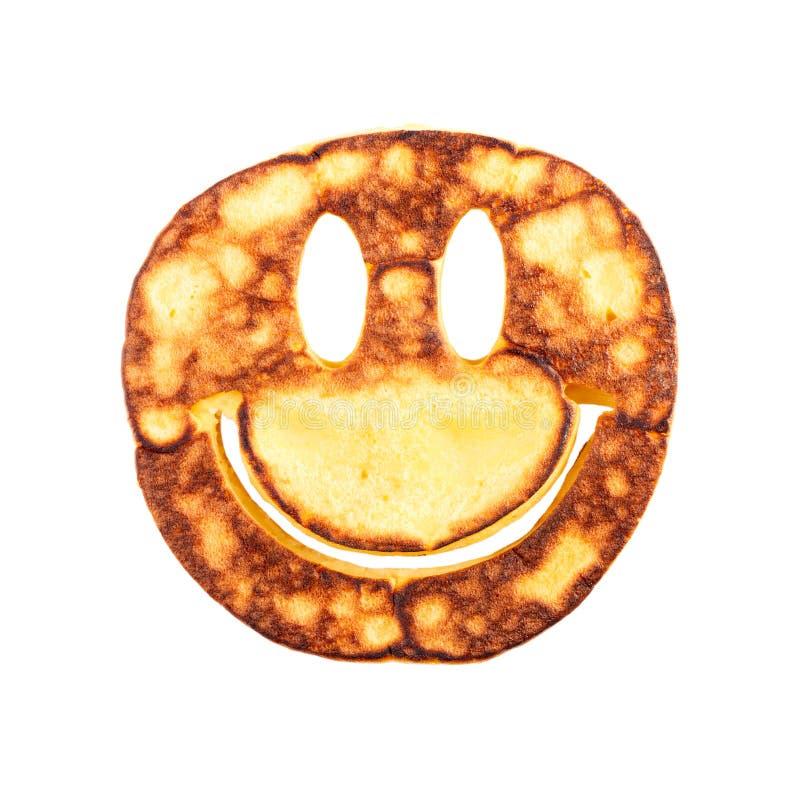 Pancake sorridente del fronte isolato su fondo bianco fotografie stock