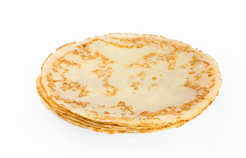 Pancake sottili su una zolla fotografia stock