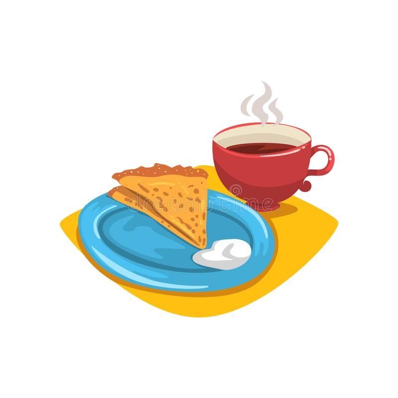 Pancake with sour cream, folded into triangle on plate and mug of hot coffee. Healthy and tasty dessert. Breakfast royalty free illustration