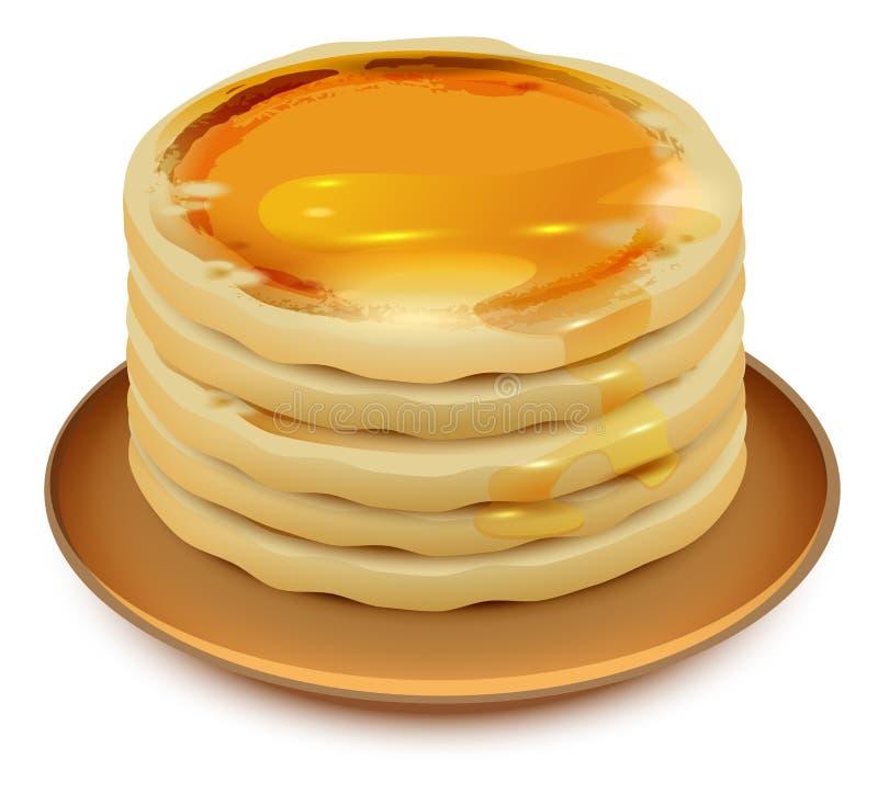 Pancake spessi con miele sul piatto Pila di pancake royalty illustrazione gratis