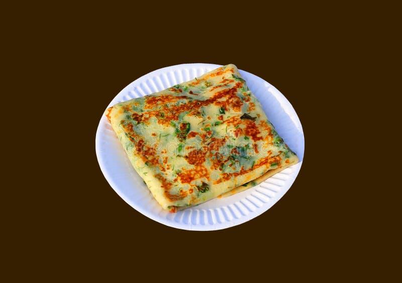 Pancake su un piatto bianco immagini stock libere da diritti