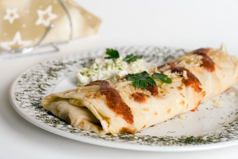Download Pancake / Tortilla / Burrito On Plate Stock Photo - Image: 3634236