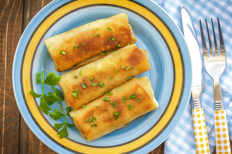 Pancakes. With meat on a plate royalty free stock photos