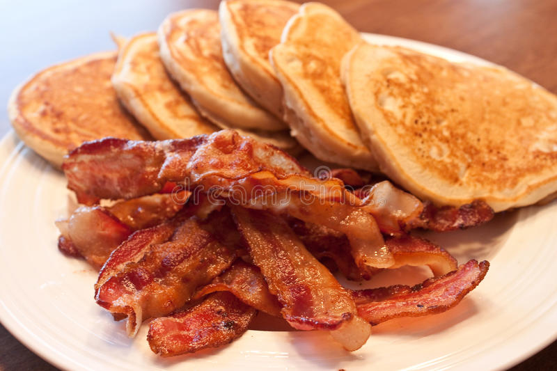 Pancakes and Bacon stock image