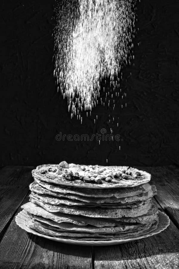 Pancakes, bakery, authentic, homemade russian france snack e. Black and white photo. Bakery. Fresh bakery. Pancakes. International Pancake Day on 28 February royalty free stock images