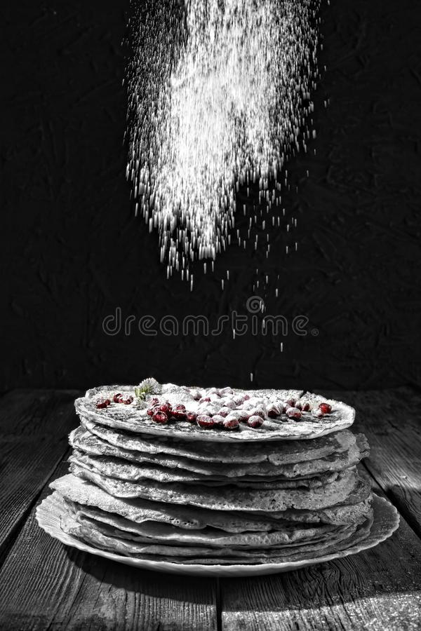 Pancakes, bakery, authentic, homemade russian france snack e. Style noir. Bakery. Fresh bakery. Pancakes. International Pancake Day on 28 February. Russian royalty free stock images