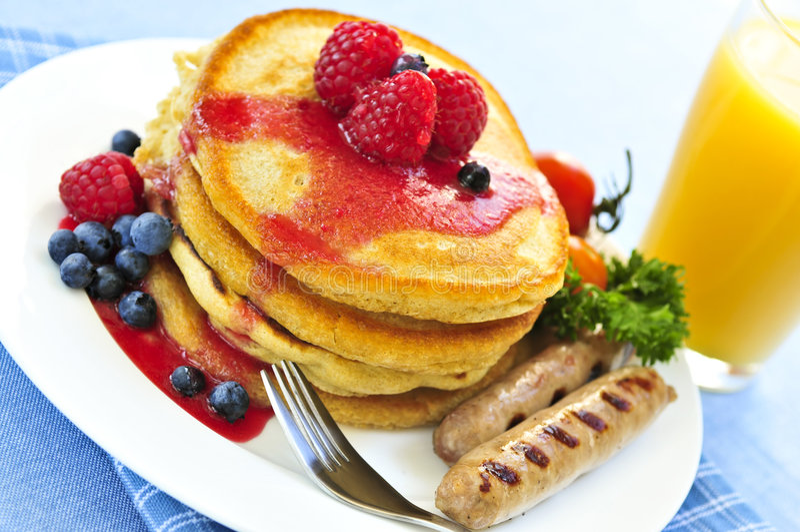 Pancakes breakfast stock image