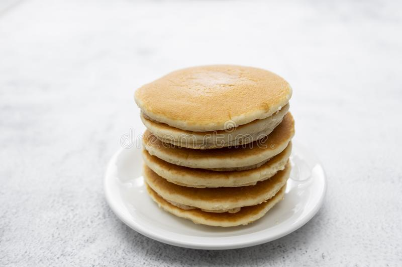 Pancakes breakfast or snack, isolated on white background stock images