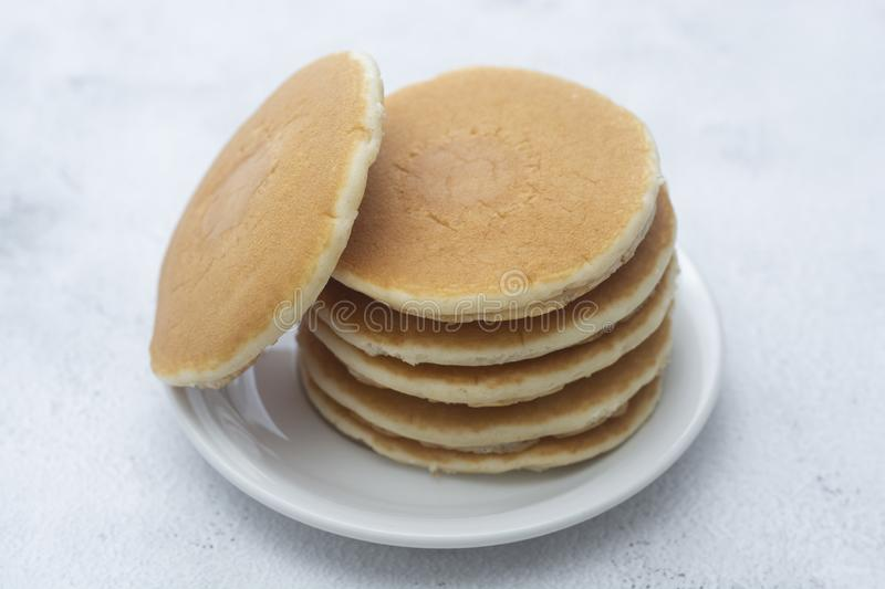 Pancakes breakfast or snack, isolated on white background stock photography