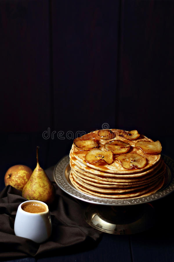 Pancakes With Caramelized Pears And Salted Caramel Sauce Stock Images
