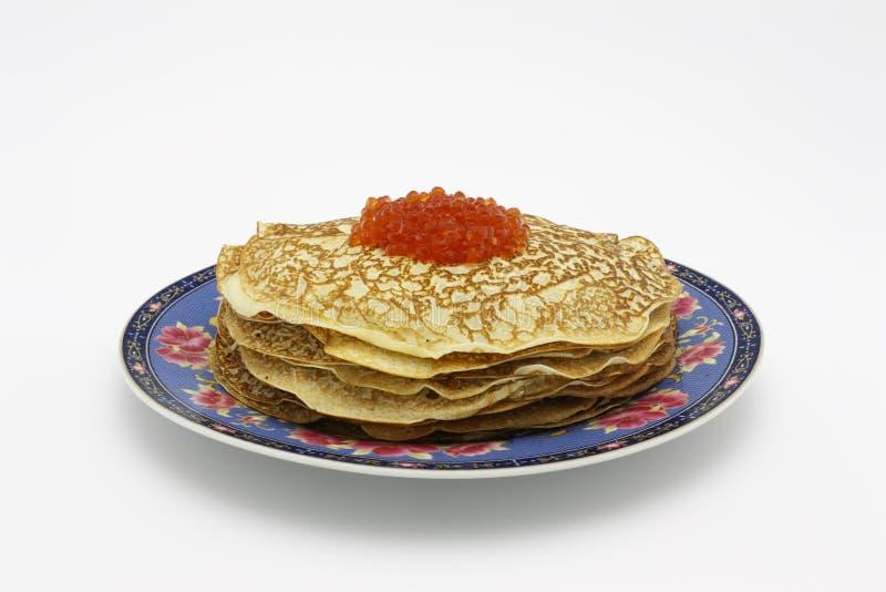 Pancakes with caviar royalty free stock photos