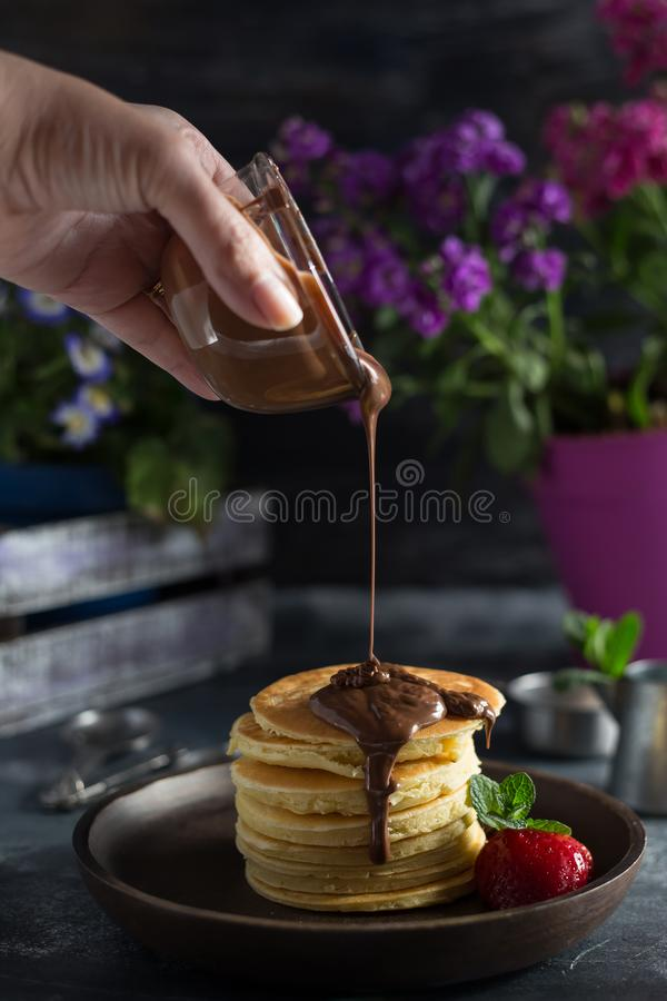 Pancakes with chocolate royalty free stock photo
