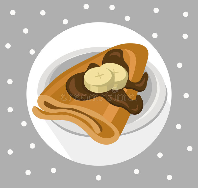 Pancakes chocolate syrop and banana flavor Vector icon template retro style dotted background. Pancakes chocolate syrop and banana flavor Vector icon template vector illustration