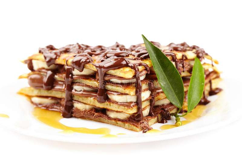 Download Pancakes With Chocolate Syrup Stock Photo - Image: 28611740