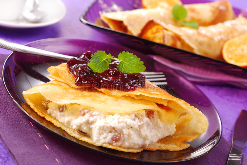 Pancakes with cottage cheese royalty free stock photo
