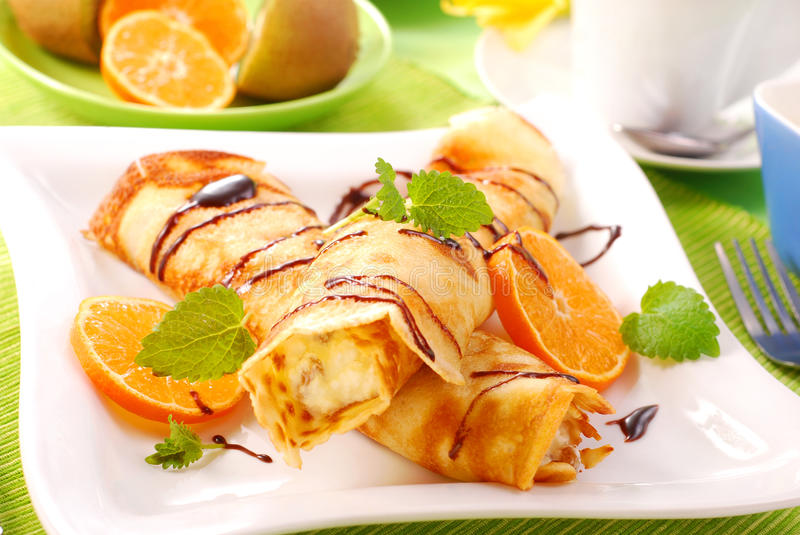 Download Pancakes With With Cottage Cheese And Orange Stock Image - Image: 13341667