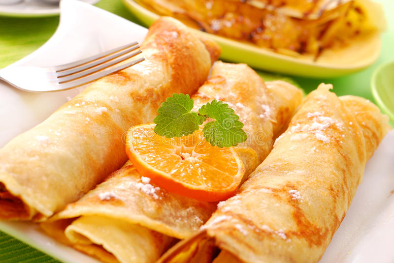 pancakes with cottage cheese and orange royalty free stock photography