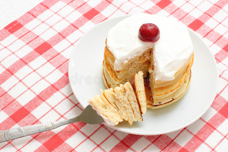Download Pancakes With Cream And Cherries Stock Images - Image: 12829334