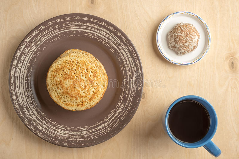 Pancakes and cup royalty free stock photo