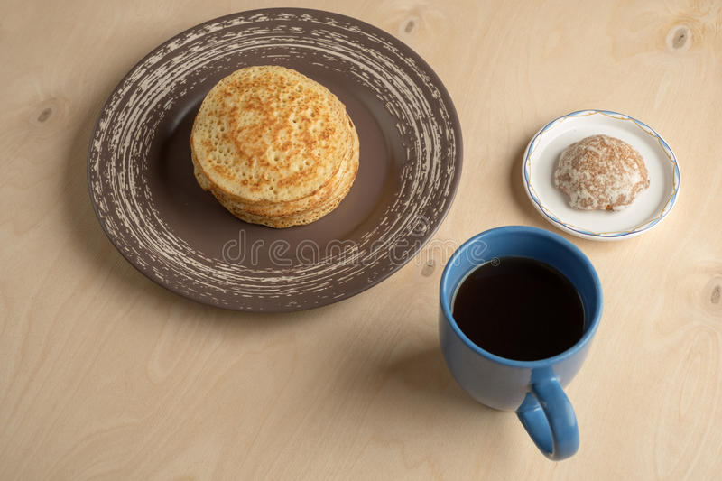 Pancakes and cup stock photo