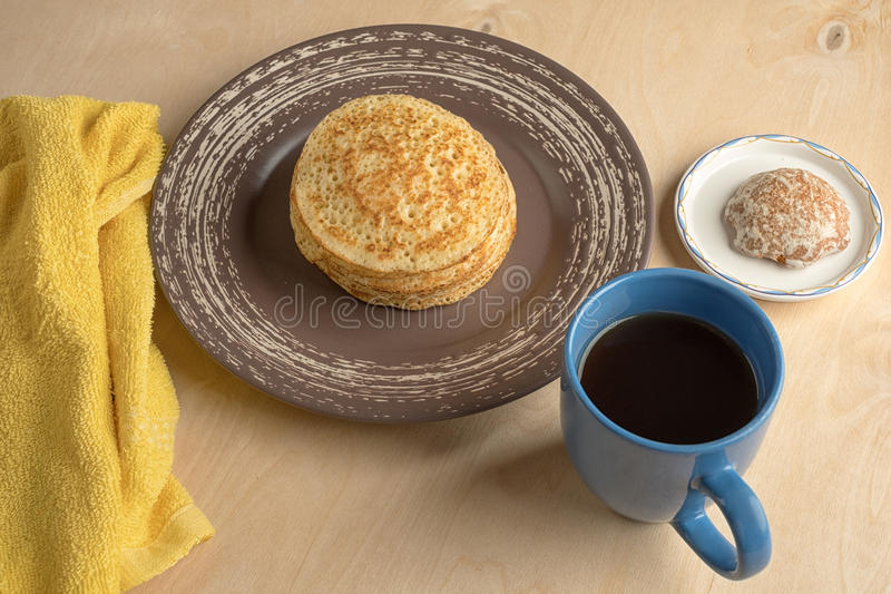 Pancakes and cup royalty free stock photos