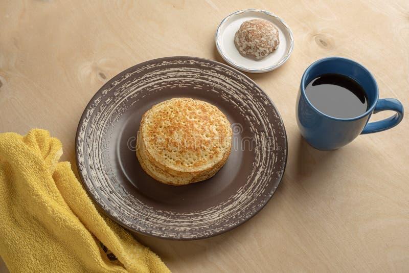 Pancakes and cup stock photos