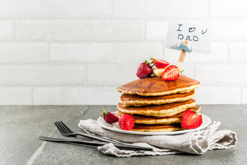 Pancakes for Father`s Day royalty free stock images