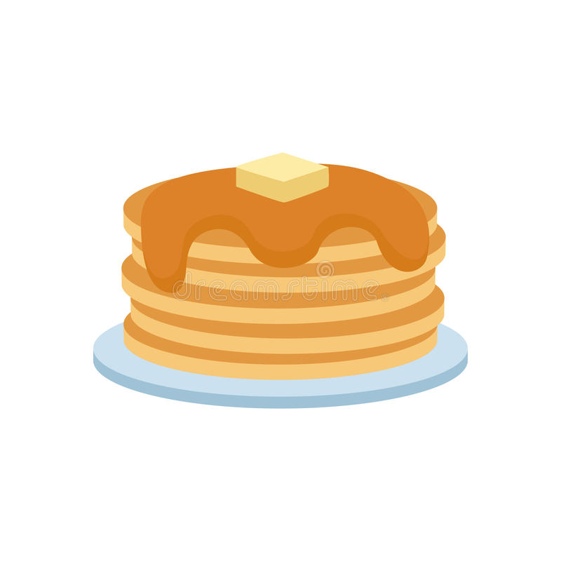 Pancakes with fresh blueberries and maple syrup sweet vector illustration. Pancakes with syrup and berries concept vector illustration. Delicious freshly cake vector illustration