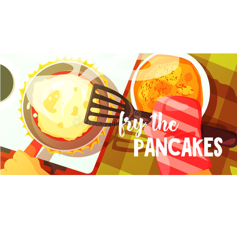 Pancakes Frying Bright Color Illustration. Hands Working On Food Preparation View From Above Drawing. Flat Cartoon Style Vector Image vector illustration