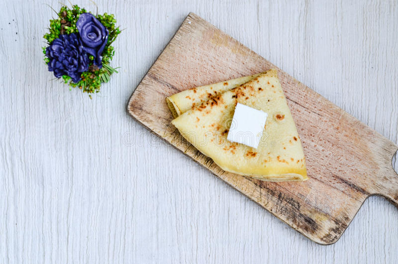 Pancakes. Homemade pancakes and cheese on whte background stock image