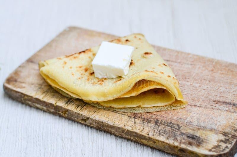 Pancakes. Homemade pancakes with white cheese stock photo