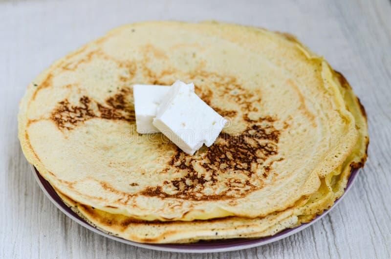 Pancakes. Homemade pancakes with white cheese stock photos
