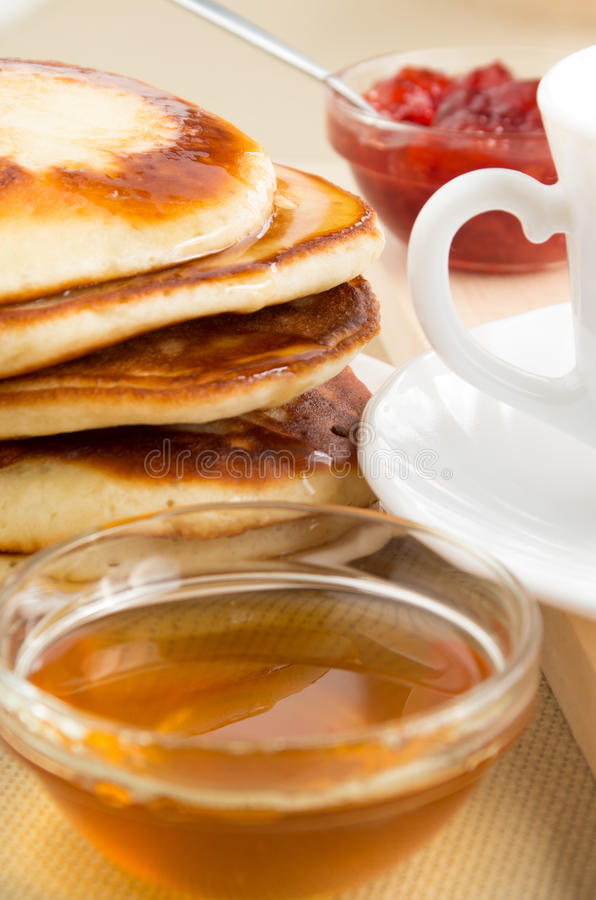 Download Pancakes With Honey Closeup Stock Photo - Image: 83717780
