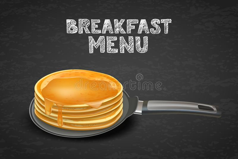Pancakes with honey or maple syrup on pan, vector illustration. Design for breakfast dessert menu, cafe, restaurant. Tasty pancakes with honey or maple syrup on royalty free illustration