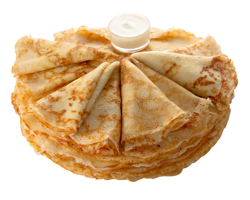 Pancakes (isolated object) royalty free stock photo