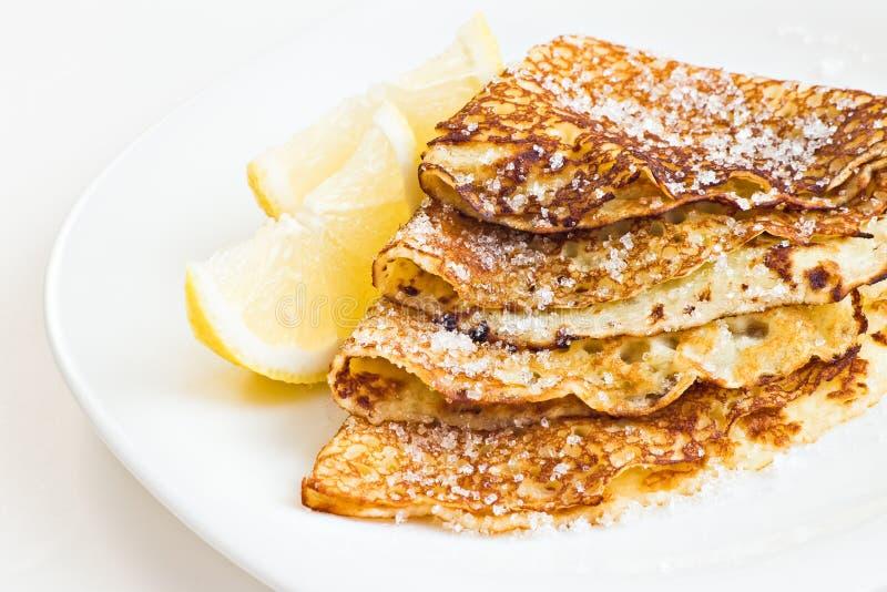 Pancakes with lemon stock photo