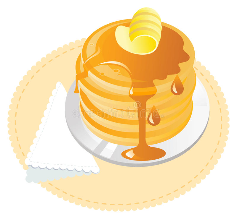Pancakes with maple syrup. And butter royalty free illustration