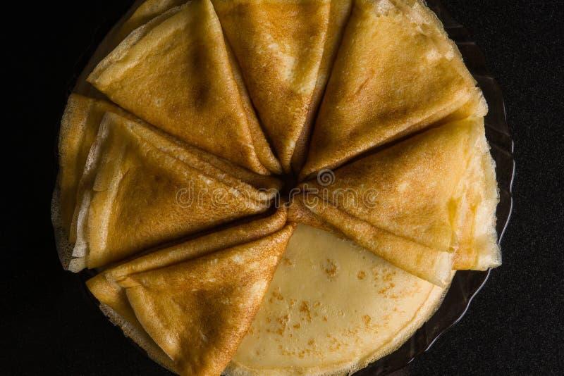 pancakes Panquecas finas Russo bliny maslenitsa, blini, café da manhã, crepe, mel, pastelaria, pilha, panqueca, russo, fundo, c fotografia de stock