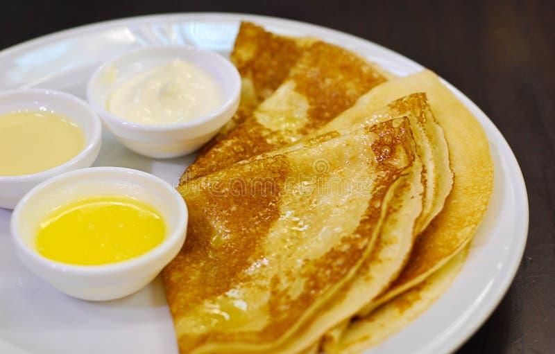 Pancakes on a plate stock photos