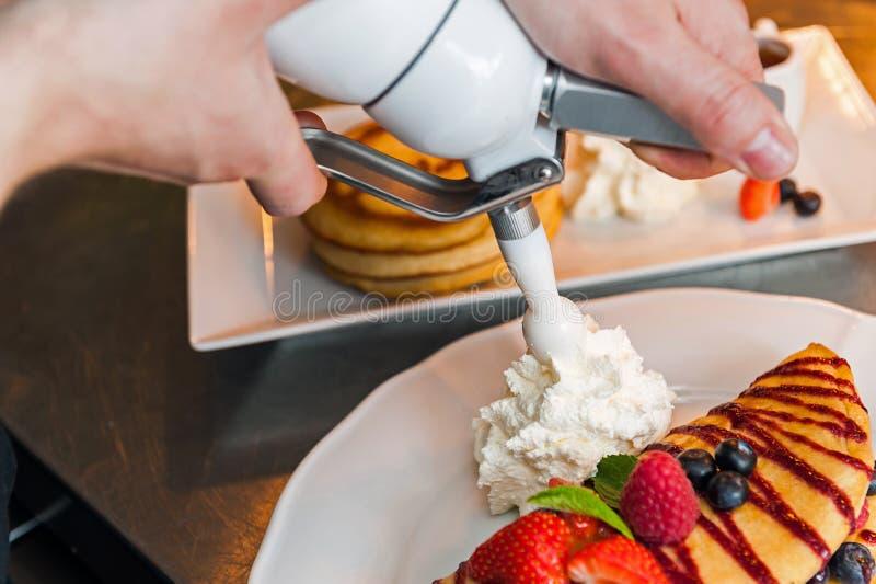 Pancakes preparing stock photography
