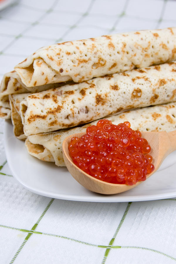 Download Pancakes with red caviar stock photo. Image of shrovetide - 22698904