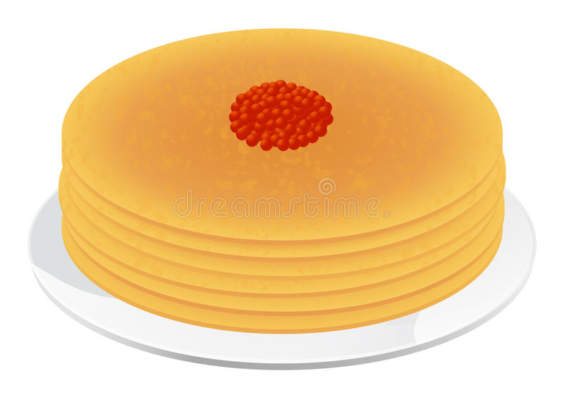 Pancakes with red caviar royalty free stock image