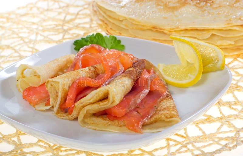 Download Pancakes with salmon stock photo. Image of lemon, pancakes - 36886282
