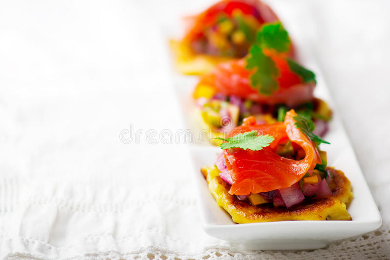 Pancakes with salmon. Selective focus stock images