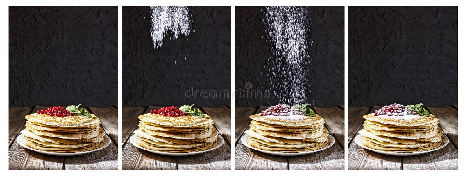 Pancakes, sprinkle, sugar powder, bakery, Maslennitsa, Mardi Gras. Pancakes with berries, mint leaves and powdered sugar. Authentic bakery interior, A board royalty free stock image