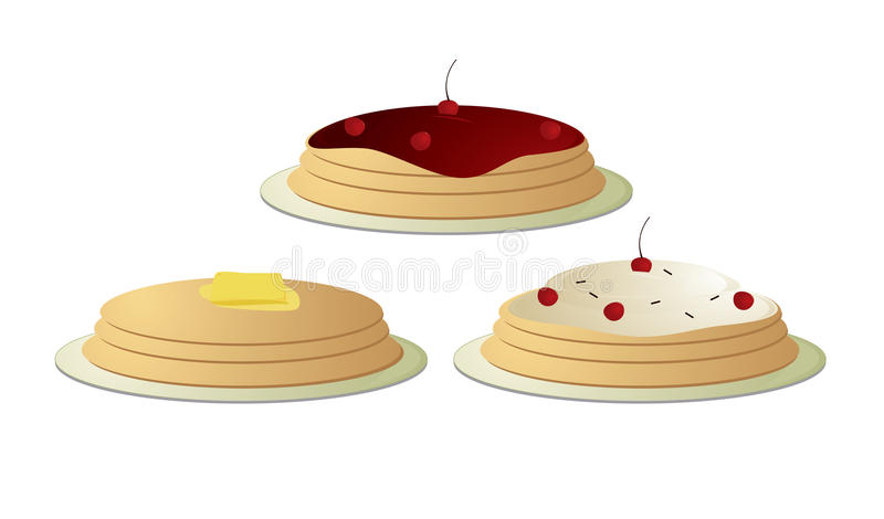 Pancakes stacked. Pancake stakes topped with butter and cherries isolated on a white background stock illustration